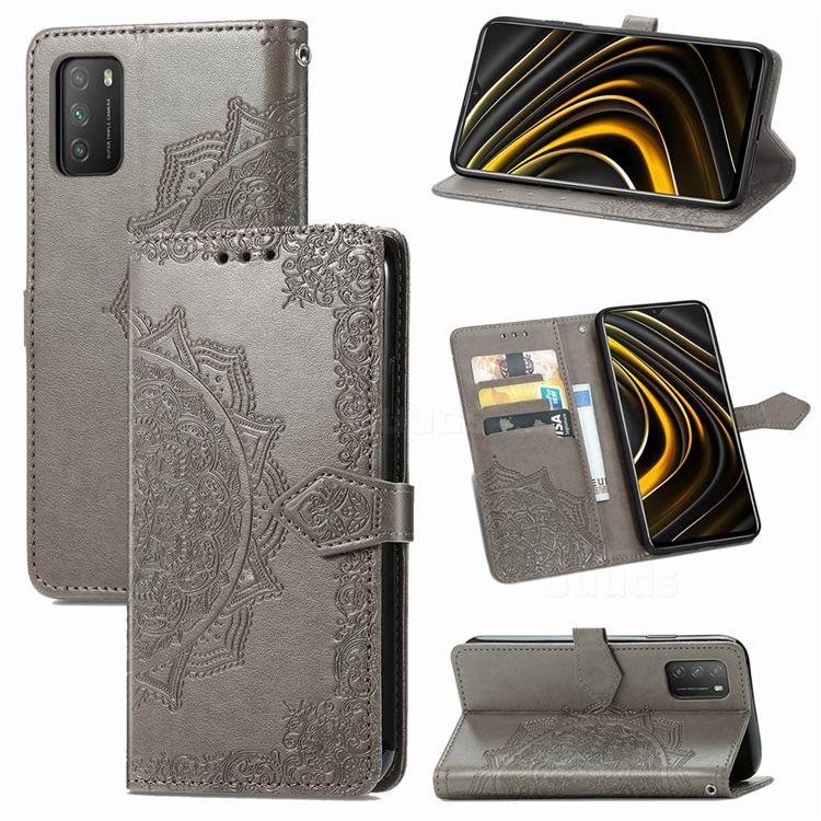 Embossing Imprint Mandala Flower Leather Wallet Case for Mi Xiaomi Poco M3 - Gray