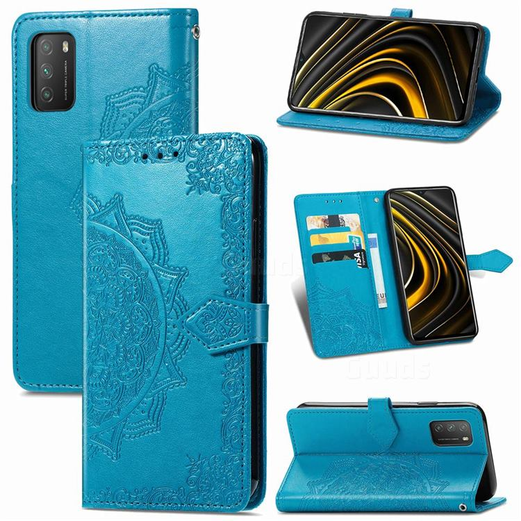 Embossing Imprint Mandala Flower Leather Wallet Case for Mi Xiaomi Poco M3 - Blue