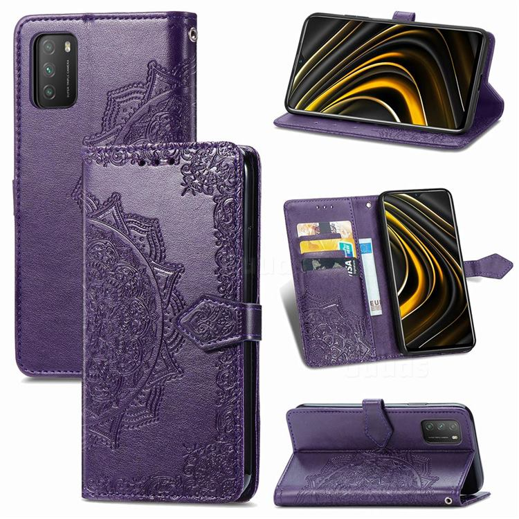 Embossing Imprint Mandala Flower Leather Wallet Case for Mi Xiaomi Poco M3 - Purple