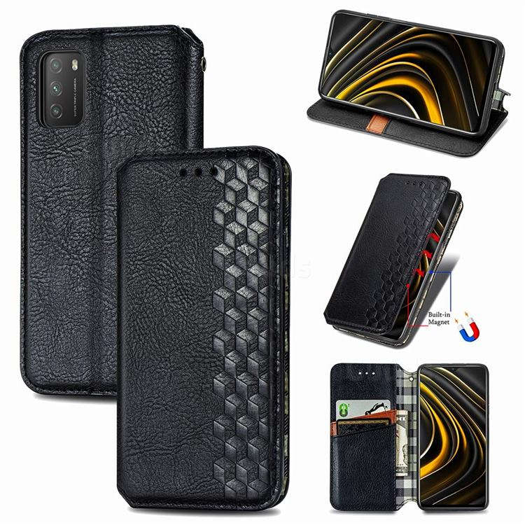 Ultra Slim Fashion Business Card Magnetic Automatic Suction Leather Flip Cover for Mi Xiaomi Poco M3 - Black