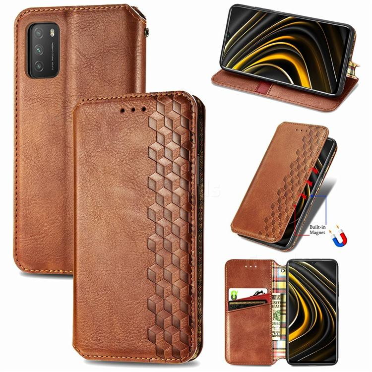 Ultra Slim Fashion Business Card Magnetic Automatic Suction Leather Flip Cover for Mi Xiaomi Poco M3 - Brown