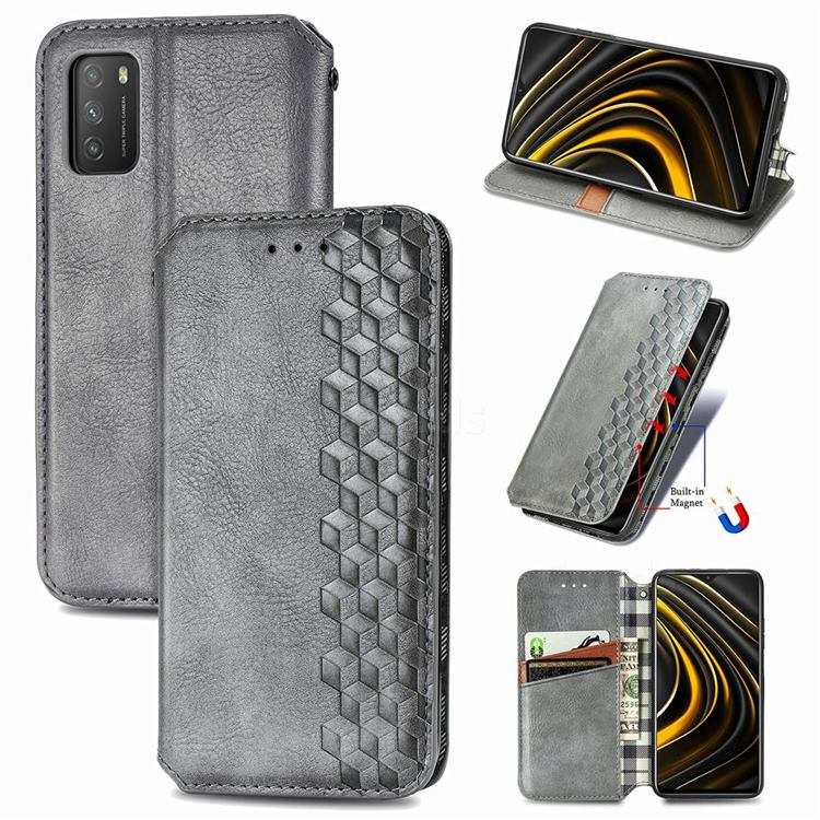 Ultra Slim Fashion Business Card Magnetic Automatic Suction Leather Flip Cover for Mi Xiaomi Poco M3 - Grey