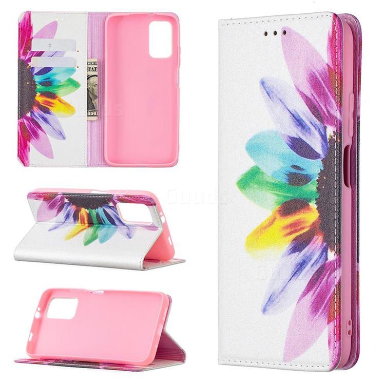 Sun Flower Slim Magnetic Attraction Wallet Flip Cover for Mi Xiaomi Poco M3