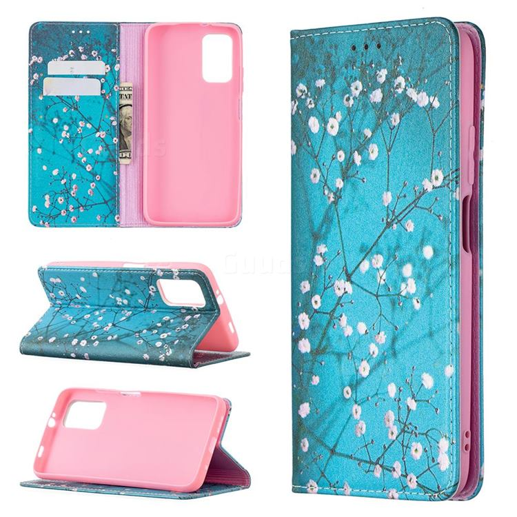 Plum Blossom Slim Magnetic Attraction Wallet Flip Cover for Mi Xiaomi Poco M3