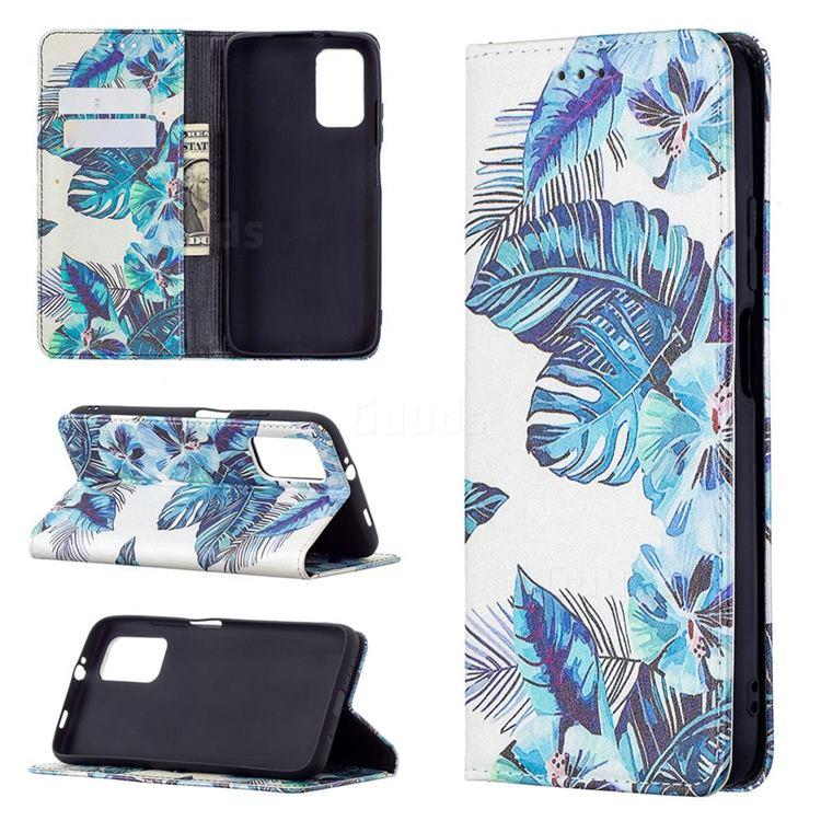 Blue Leaf Slim Magnetic Attraction Wallet Flip Cover for Mi Xiaomi Poco M3