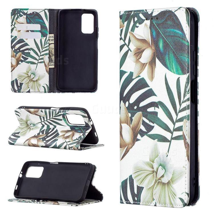 Flower Leaf Slim Magnetic Attraction Wallet Flip Cover for Mi Xiaomi Poco M3