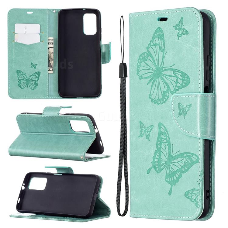 Embossing Double Butterfly Leather Wallet Case for Mi Xiaomi Poco M3 - Green