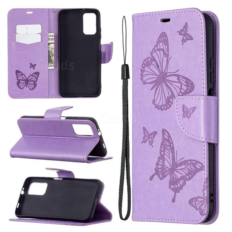 Embossing Double Butterfly Leather Wallet Case for Mi Xiaomi Poco M3 - Purple