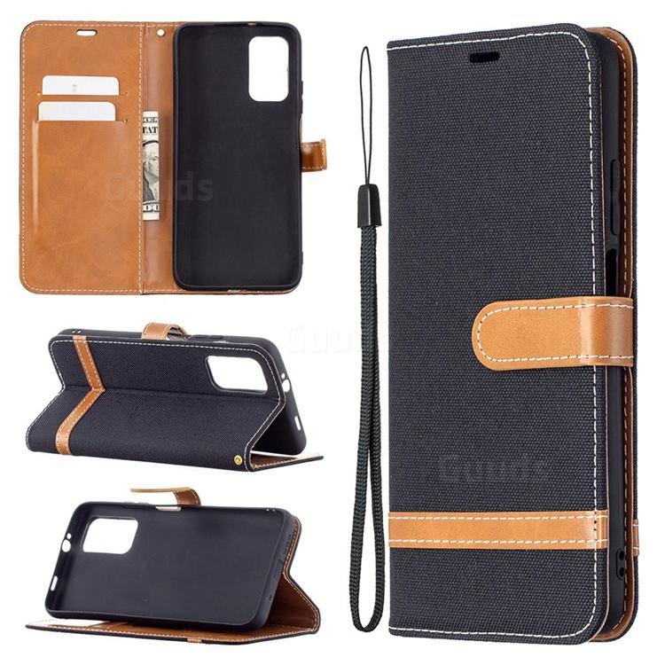 Jeans Cowboy Denim Leather Wallet Case for Mi Xiaomi Poco M3 - Black