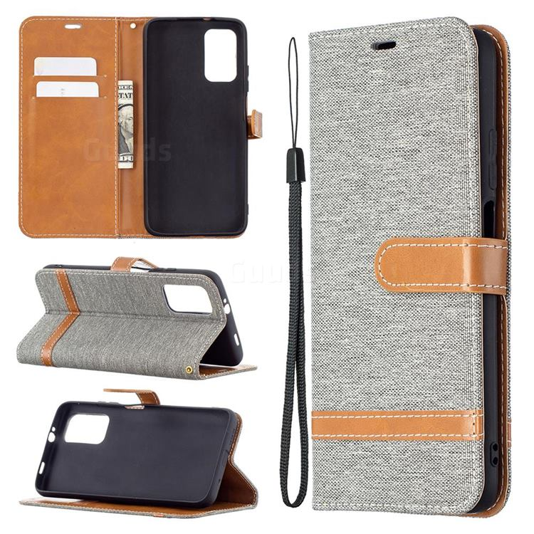 Jeans Cowboy Denim Leather Wallet Case for Mi Xiaomi Poco M3 - Gray