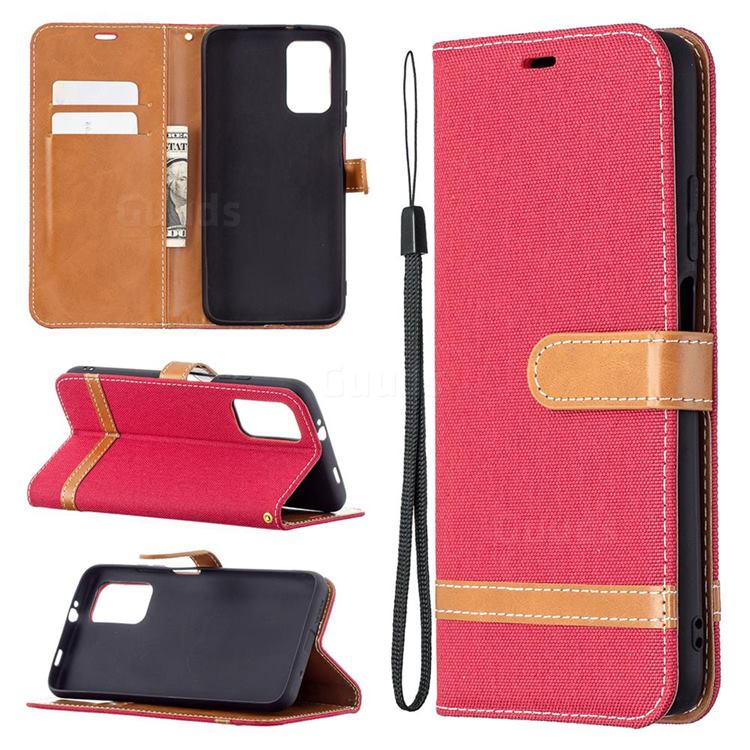 Jeans Cowboy Denim Leather Wallet Case for Mi Xiaomi Poco M3 - Red