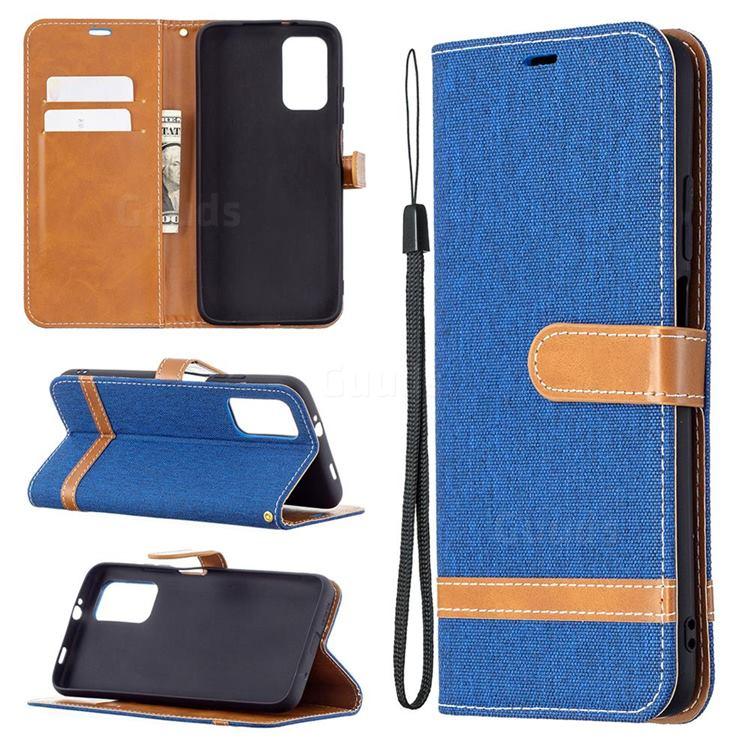 Jeans Cowboy Denim Leather Wallet Case for Mi Xiaomi Poco M3 - Sapphire