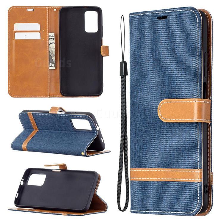 Jeans Cowboy Denim Leather Wallet Case for Mi Xiaomi Poco M3 - Dark Blue