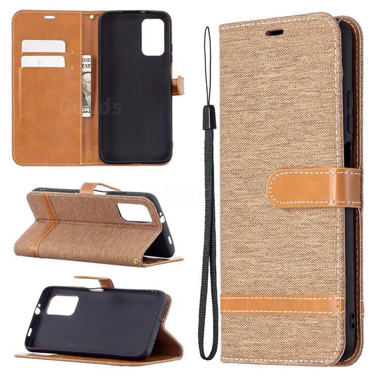 Jeans Cowboy Denim Leather Wallet Case for Mi Xiaomi Poco M3 - Brown