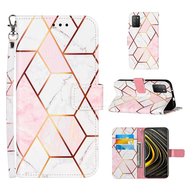 Pink White Stitching Color Marble Leather Wallet Case for Mi Xiaomi Poco M3