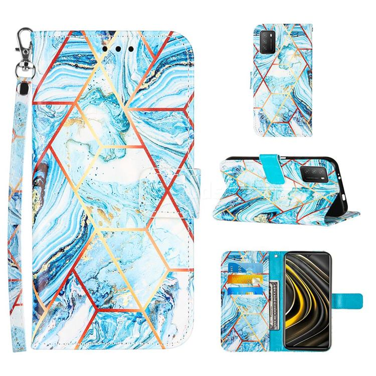 Lake Blue Stitching Color Marble Leather Wallet Case for Mi Xiaomi Poco M3