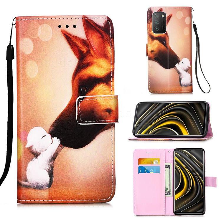 Hound Kiss Matte Leather Wallet Phone Case for Mi Xiaomi Poco M3