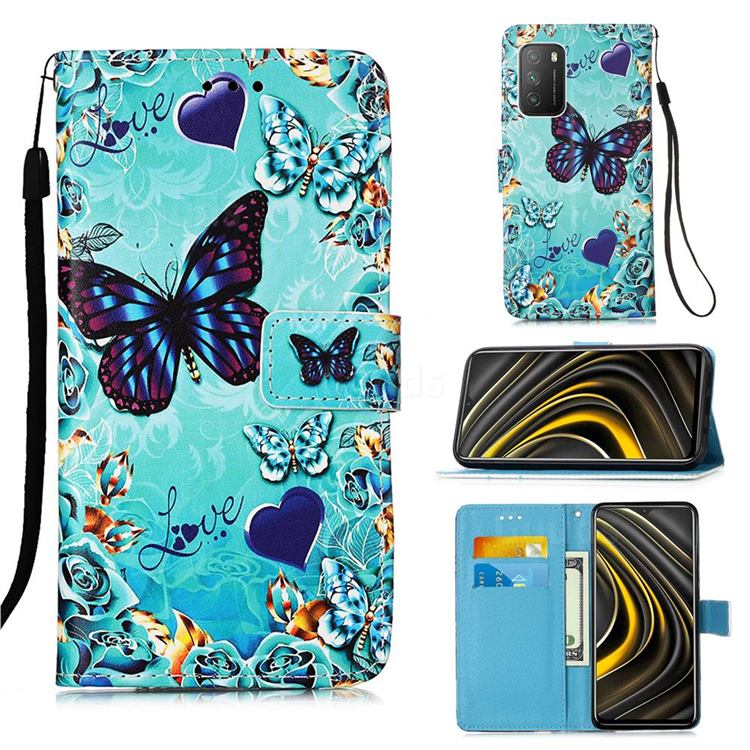Love Butterfly Matte Leather Wallet Phone Case for Mi Xiaomi Poco M3