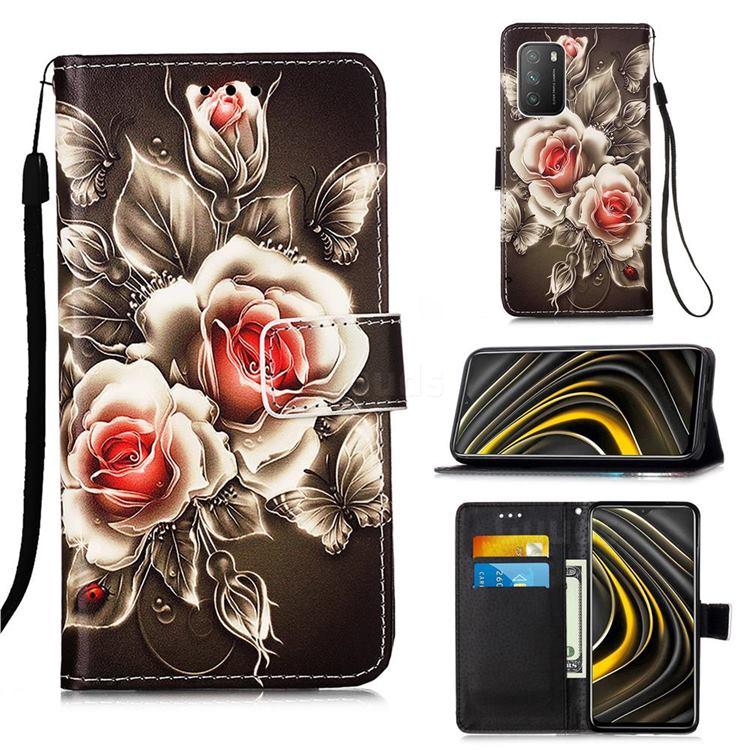 Black Rose Matte Leather Wallet Phone Case for Mi Xiaomi Poco M3