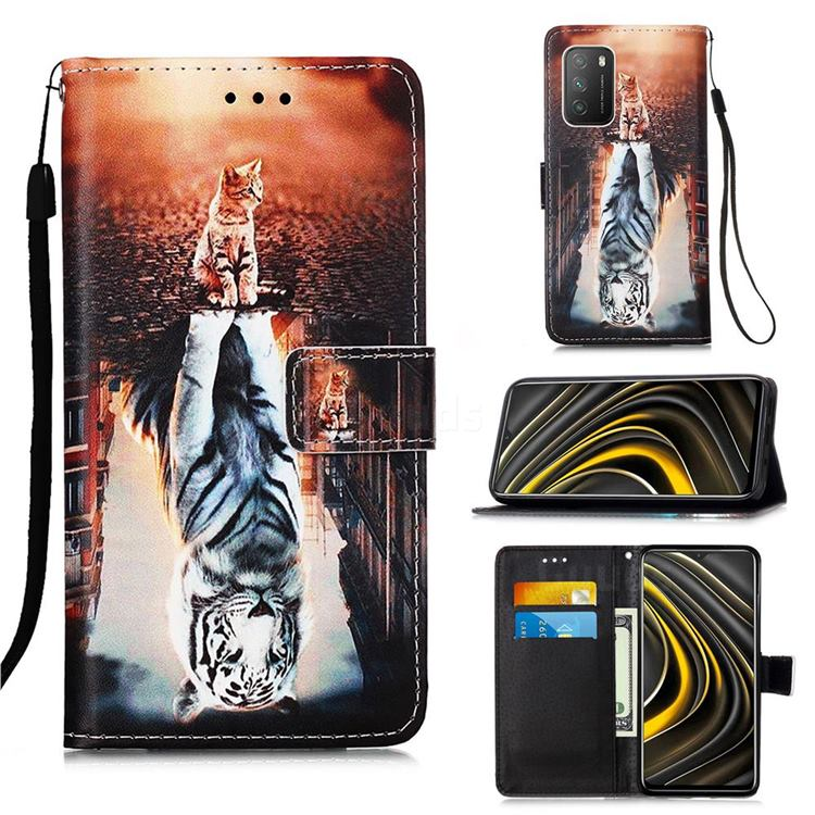 Cat and Tiger Matte Leather Wallet Phone Case for Mi Xiaomi Poco M3