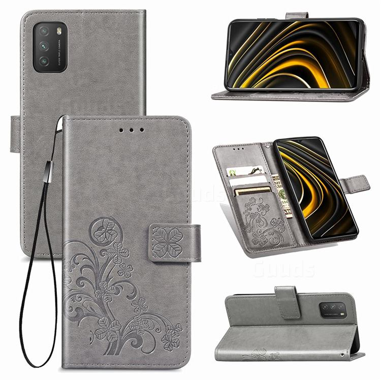 Embossing Imprint Four-Leaf Clover Leather Wallet Case for Mi Xiaomi Poco M3 - Grey