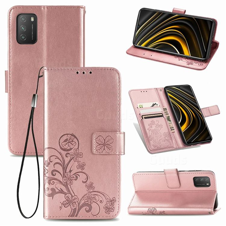 Embossing Imprint Four-Leaf Clover Leather Wallet Case for Mi Xiaomi Poco M3 - Rose Gold