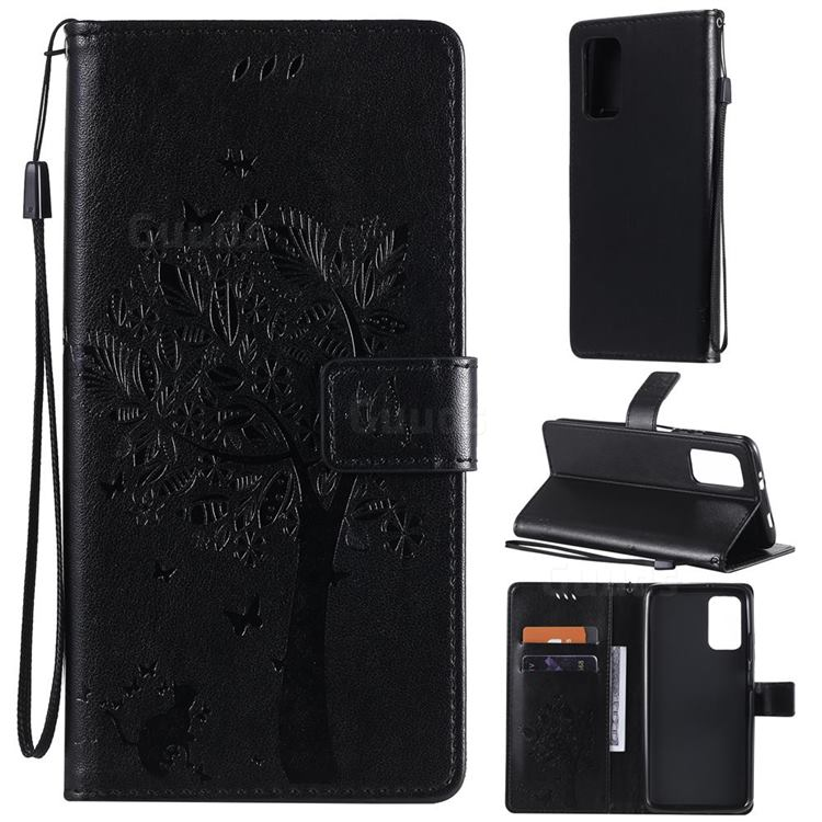 Embossing Butterfly Tree Leather Wallet Case for Mi Xiaomi Poco M3 - Black