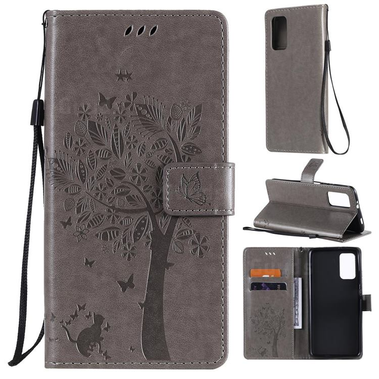 Embossing Butterfly Tree Leather Wallet Case for Mi Xiaomi Poco M3 - Grey