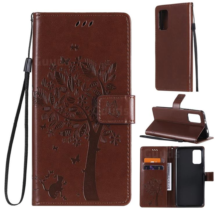 Embossing Butterfly Tree Leather Wallet Case for Mi Xiaomi Poco M3 - Coffee