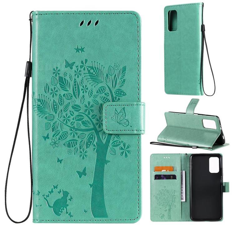Embossing Butterfly Tree Leather Wallet Case for Mi Xiaomi Poco M3 - Cyan