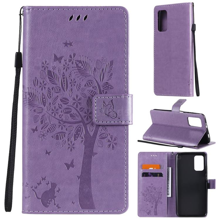 Embossing Butterfly Tree Leather Wallet Case for Mi Xiaomi Poco M3 - Violet
