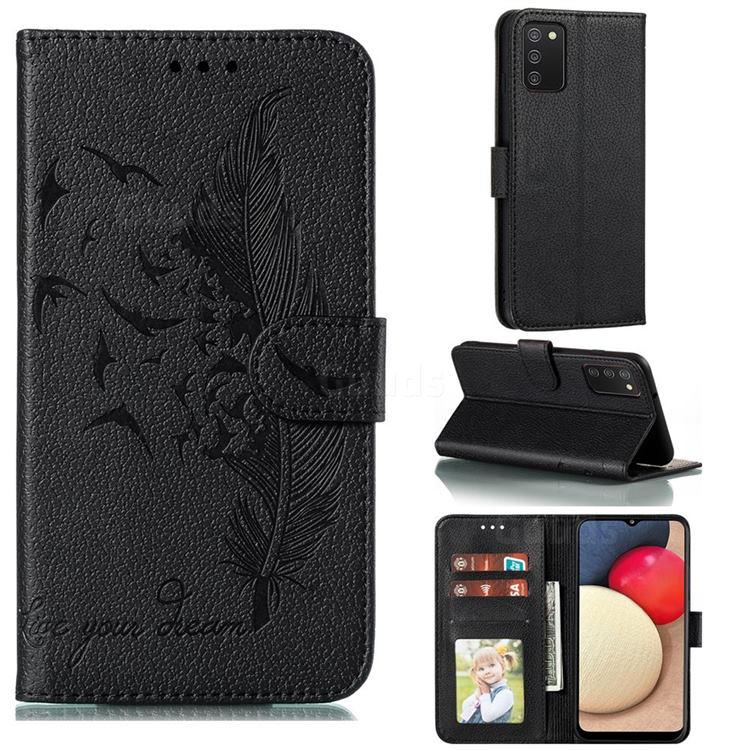 Intricate Embossing Lychee Feather Bird Leather Wallet Case for Mi Xiaomi Poco M3 - Black