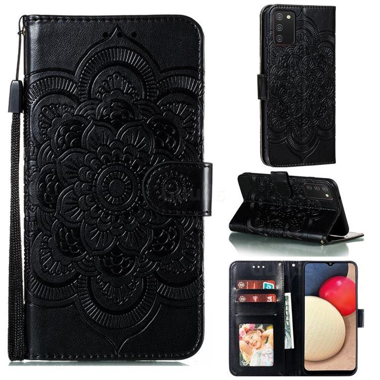 Intricate Embossing Datura Solar Leather Wallet Case for Mi Xiaomi Poco M3 - Black