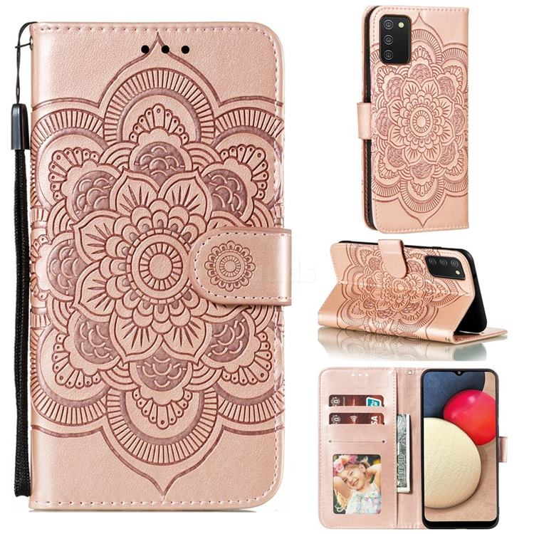 Intricate Embossing Datura Solar Leather Wallet Case for Mi Xiaomi Poco M3 - Rose Gold