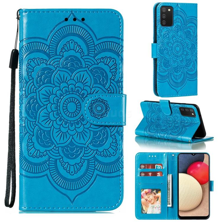 Intricate Embossing Datura Solar Leather Wallet Case for Mi Xiaomi Poco M3 - Blue