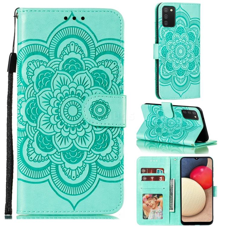Intricate Embossing Datura Solar Leather Wallet Case for Mi Xiaomi Poco M3 - Green