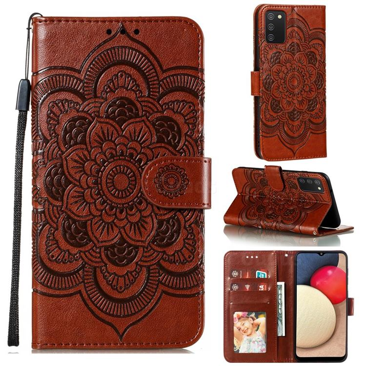 Intricate Embossing Datura Solar Leather Wallet Case for Mi Xiaomi Poco M3 - Brown