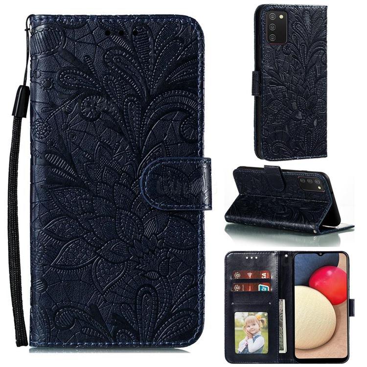 Intricate Embossing Lace Jasmine Flower Leather Wallet Case for Mi Xiaomi Poco M3 - Dark Blue