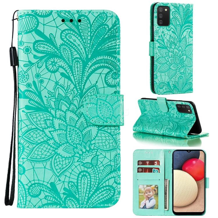 Intricate Embossing Lace Jasmine Flower Leather Wallet Case for Mi Xiaomi Poco M3 - Green