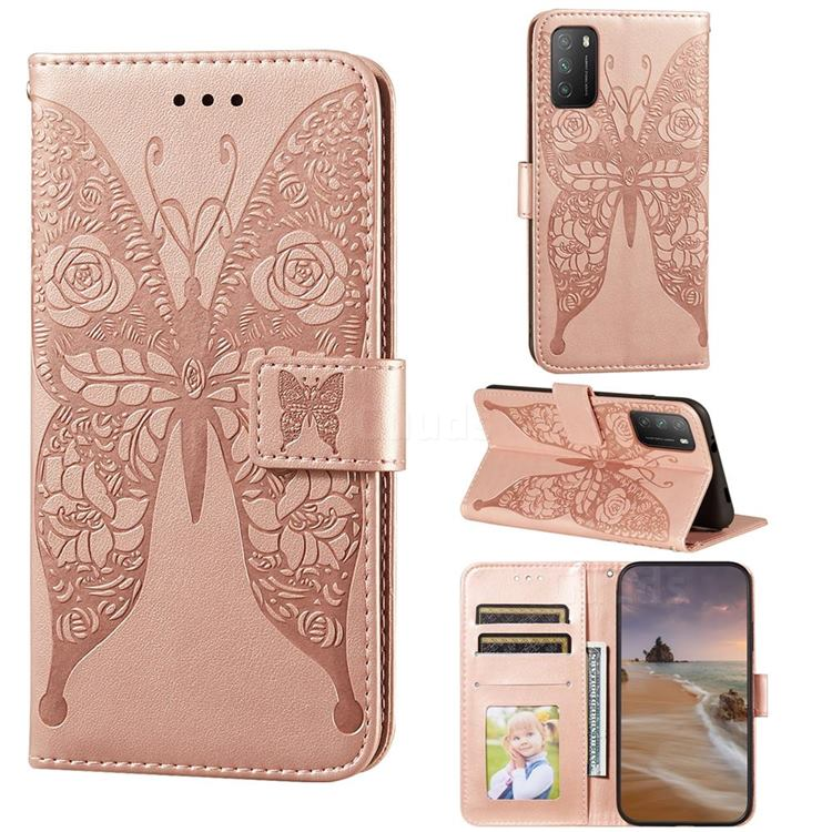 Intricate Embossing Rose Flower Butterfly Leather Wallet Case for Mi Xiaomi Poco M3 - Rose Gold