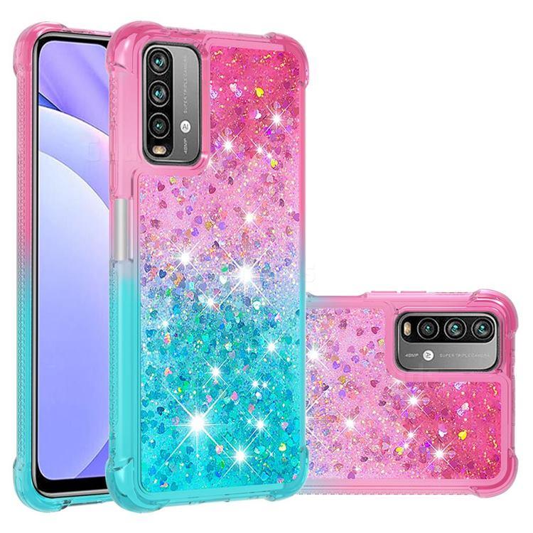 Rainbow Gradient Liquid Glitter Quicksand Sequins Phone Case for Mi Xiaomi Poco M3 - Pink Blue