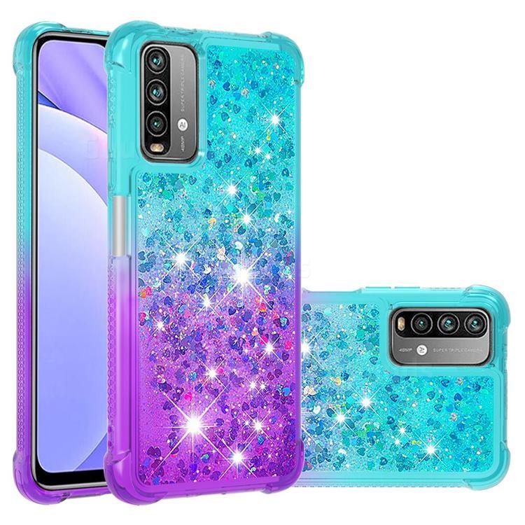 Rainbow Gradient Liquid Glitter Quicksand Sequins Phone Case for Mi Xiaomi Poco M3 - Blue Purple