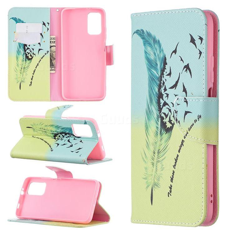Feather Bird Leather Wallet Case for Mi Xiaomi Poco M3