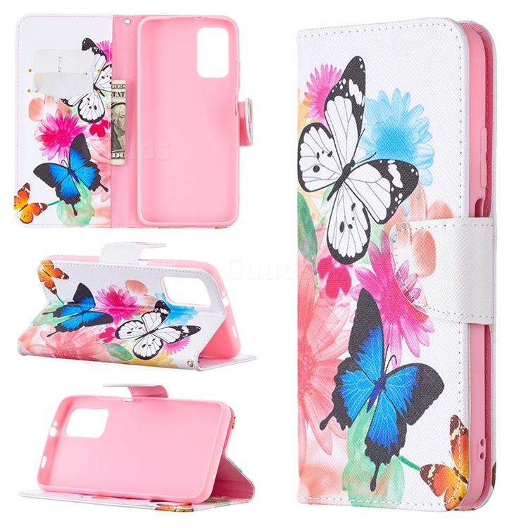 Vivid Flying Butterflies Leather Wallet Case for Mi Xiaomi Poco M3