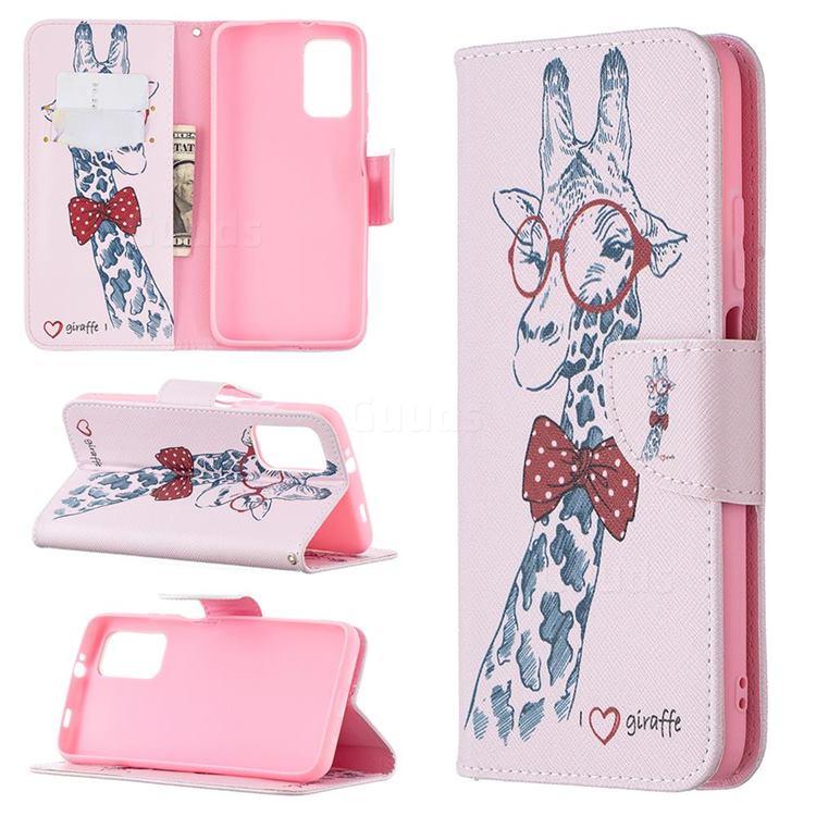 Glasses Giraffe Leather Wallet Case for Mi Xiaomi Poco M3