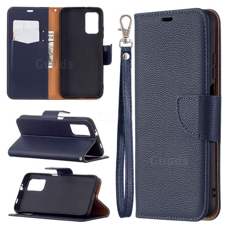 Classic Luxury Litchi Leather Phone Wallet Case for Mi Xiaomi Poco M3 - Blue