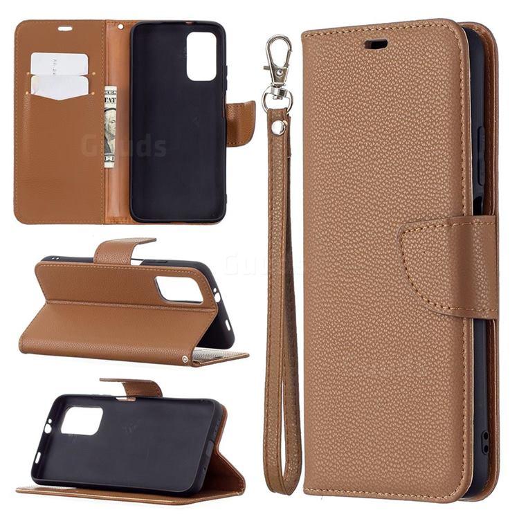 Classic Luxury Litchi Leather Phone Wallet Case for Mi Xiaomi Poco M3 - Brown