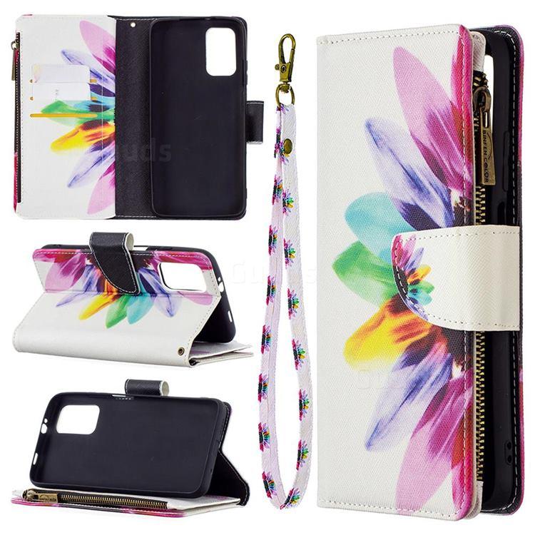 Seven-color Flowers Binfen Color BF03 Retro Zipper Leather Wallet Phone Case for Mi Xiaomi Poco M3