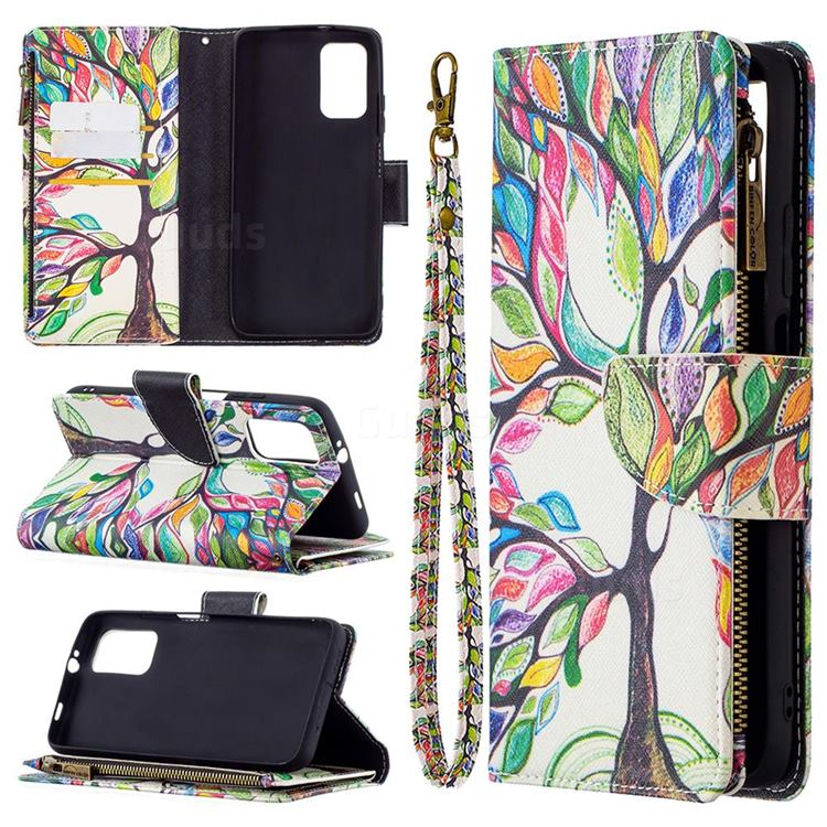 The Tree of Life Binfen Color BF03 Retro Zipper Leather Wallet Phone Case for Mi Xiaomi Poco M3