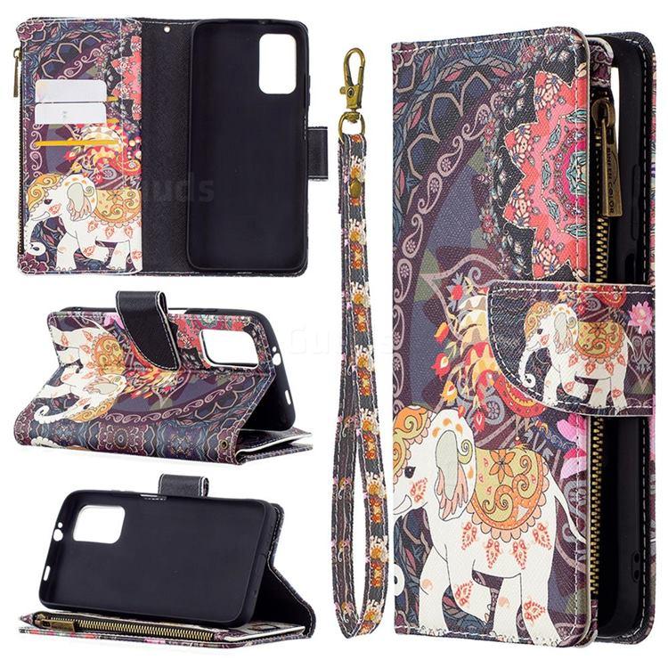 Totem Flower Elephant Binfen Color BF03 Retro Zipper Leather Wallet Phone Case for Mi Xiaomi Poco M3